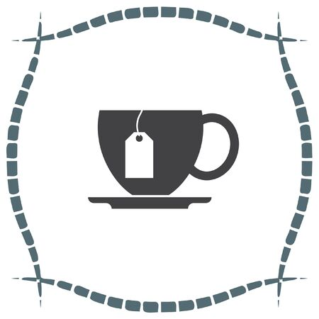 tea hot drink: Cup with Tea vector icon. Hot drink sign