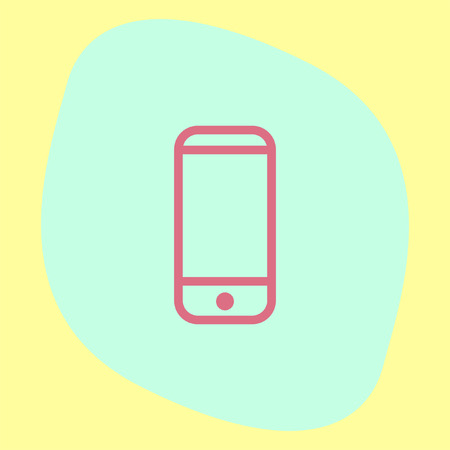 touchscreen: Mobile phone sign line vector icon. Smart phone vector icon. Cellphone with touchscreen sign. Illustration
