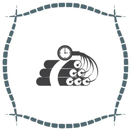 explosive sign: Dynamite time bomb vector icon. Explosive sign. Destruction equipment symbol Illustration