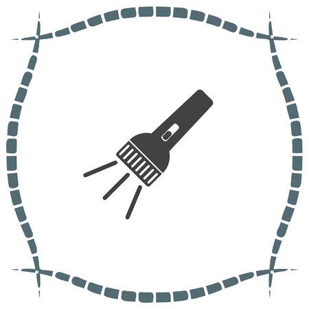 pocket flashlight: Flashlight vector icon. Battery light sign. Hand lantern symbol Illustration