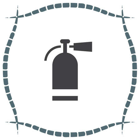 firefighting: Fire extinguisher vector icon. Firefighting equipment sign. Flame prevention tool Illustration