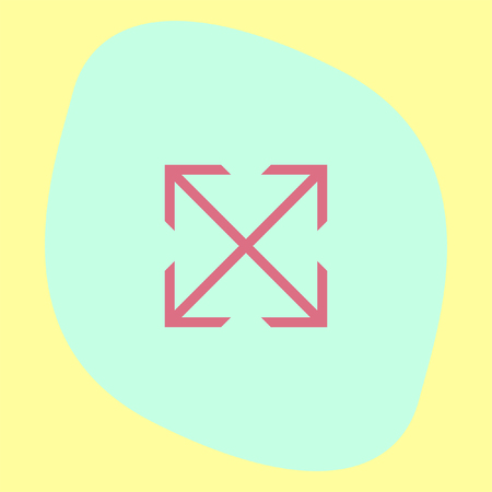 full screen: Arrows full screen sign line vector icon. Direction sign line icon.