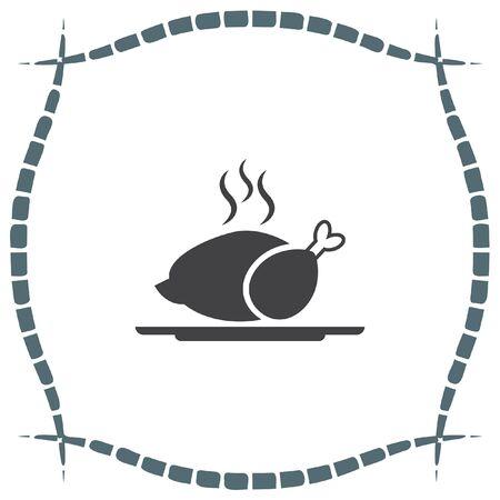 Poulet vecteur icône. signe d'un repas chaud. symbole barbecue.