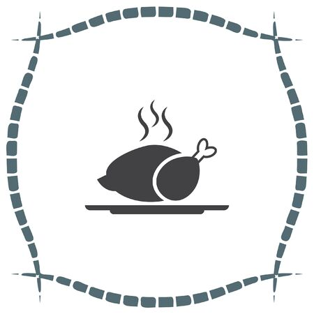 Chicken vector icon. Warm meal sign. Barbeque symbol. Illustration