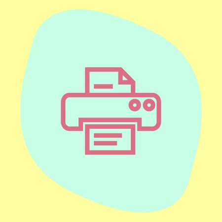 office printer: Printer sign line vector icon. Print document technology sign. Office printing device symbol. Illustration