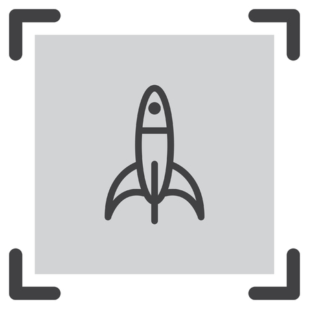 shuttle: Rocket line vector. Space ship sign icon. Start up business symbol. Spac shuttle pictograph