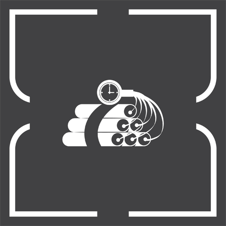 dynamite: Dynamite time bomb vector icon. Explosive sign. Destruction equipment symbol Illustration