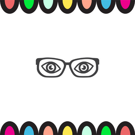eye glass frame: Glasses with eyes vector icon. Reading accessory sign. Search symbol UI control.