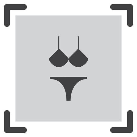 thong: Bikini vector icon. Women beach clothes sign. Summer vacation symbol. Illustration