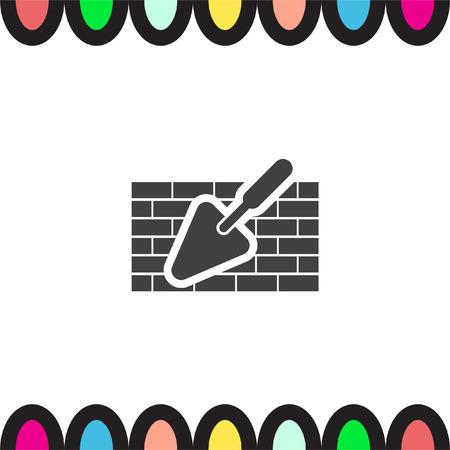 brick mason: Trowel with brick wall vector icon. Construction mason equipment. Plastering spatula symbol