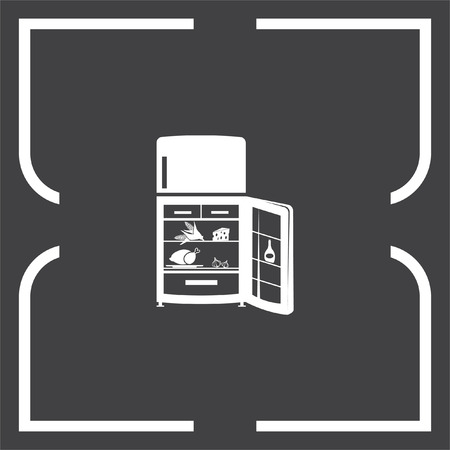 fridge: Refrigerator vector icon. Fridge sign