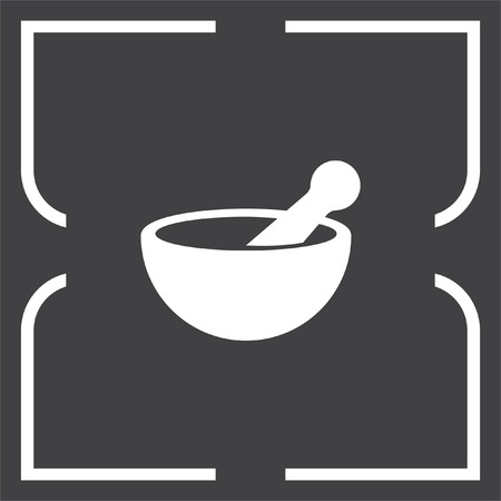 pharmacy symbol: Mortar and pestle pharmacy vector icon. Pharmacy tool sign. Medical equipment symbol
