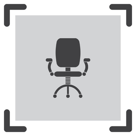 comfortable: Office chair vector icon. Working furniture sign. Comfortable seat symbol