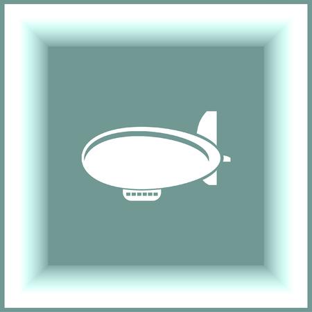 zeppelin: Airship Zeppelin vector icon.  Flight transport symbol. Illustration