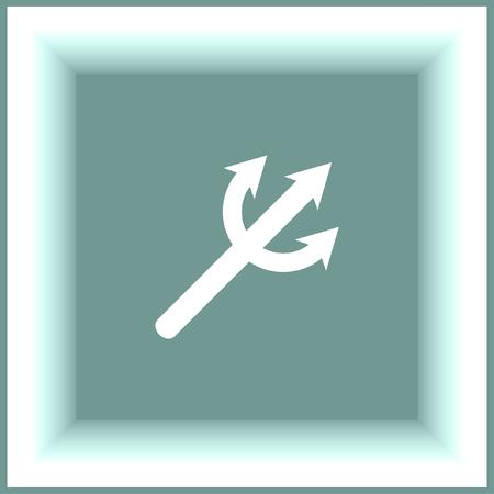 aqua park: Devils Trident vector icon. Poseidon weapon sign. Aqua park symbol