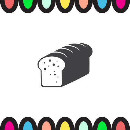 toasted bread: Toast bread vector icon. Whole grain food sign. Sweet loaf symbol. Bakery icon.