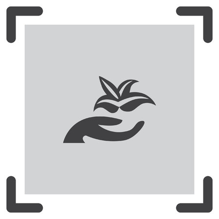 hand holding flower: Hand holding plant vector icon. Flower and arm sign. Botanical garden symbol