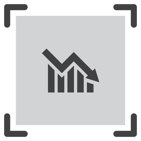 decrease: Chart with bars declining vector icon. Decrease sign icon. Finance graph symbol. Illustration