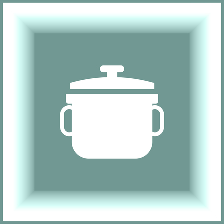 stew: Stew pot vector icon. Cooked meal sign. Homemade foot symbol
