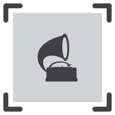 antique phonograph: Gramophone vector icon. Record player sign. Vintage music symbol