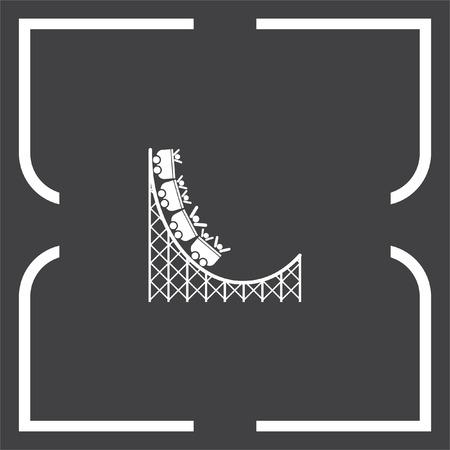 amusement park ride: Roller coaster vector icon. Amusement park sign. Speed ride symbol Illustration