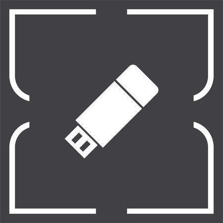 memory drive: USB stick vector icon. Flash memory sign. Removable data drive symbol