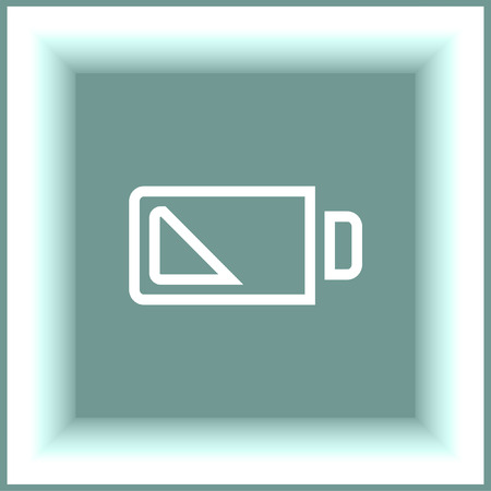 fuel and power generation: Battery quarter sign line vector icon. Electrical power sign. Rechargeable energy symbol. Illustration
