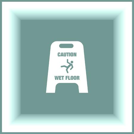 wet floor: Slippery wet floor vector icon. Warning sign. Attention dangerous symbol Illustration