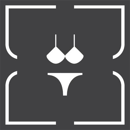 thong bikini: Bikini vector icon. Women beach clothes sign. Summer vacation symbol. Illustration