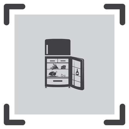 refrigeration: Refrigerator vector icon. Fridge sign