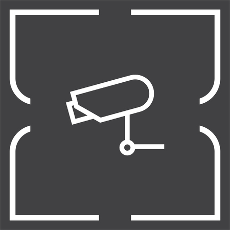surveillance symbol: Security camera sign line vector icon. Video monitoring icon. Camera cctv sign. Surveillance symbol.