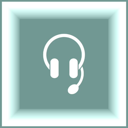 headset symbol: Headphones or headset vector icon. Music sign. Volume control pictograph. Sound symbol.