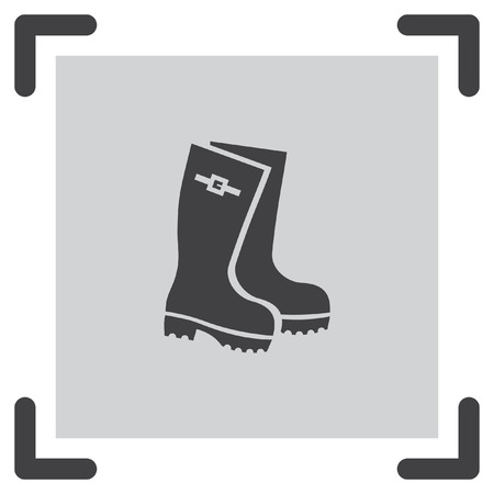 wellies: Rain boots vector icon. Rubber footwear sign. Gumboots symbol