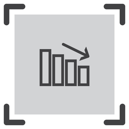 decrease: Chart with bars declining line vector icon. Decrease sign. Finance graph symbol