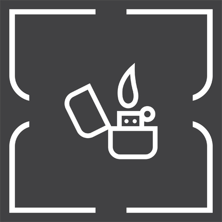 gas lighter: Lighter sign line vector icon. Tobacco burner sign. Cigarette symbol Illustration