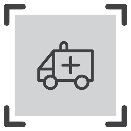 urgent care: Ambulance car sign line vector icon. Emergency sign line icon. Rescue service sign line vector icon.