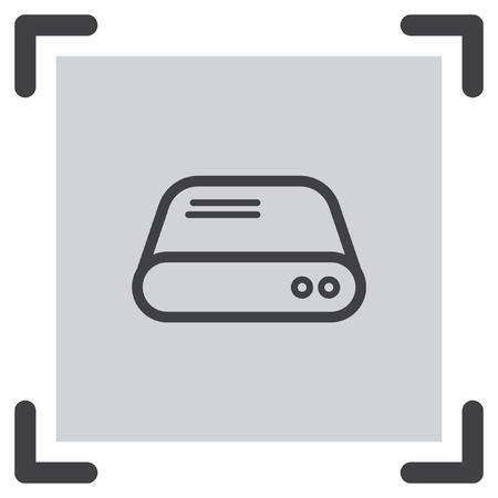 sata: Hard disk line vector icon. HDD sign. Hard drive storage symbol.