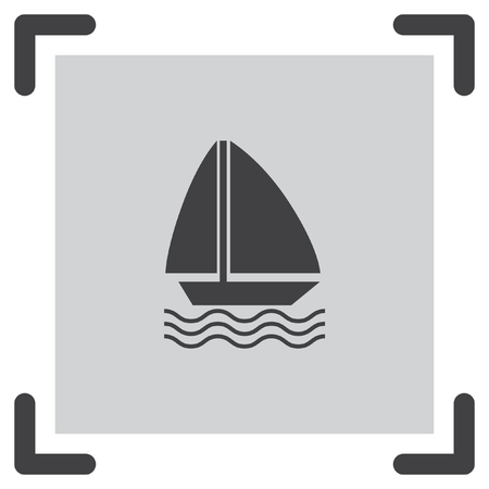 nautical vessel: Sailboat vector icon. Boat sign. Yacht symbol Illustration