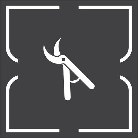 pruner: Garden pruner vector icon. Backyard scissors sign. Grooming equipment symbol Illustration