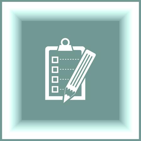 clip board: Check list  with pencil vector icon. Clip board with pencil sign.
