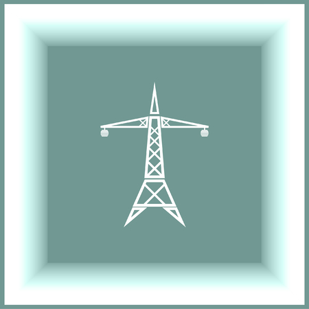 pylon: Power line vector icon. Electric tower sign. High electricity transmission symbol