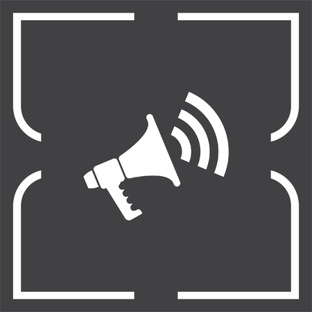 to announce: Bullhorn vector icon. Megaphone or loudspeaker sign. Announce symbol.