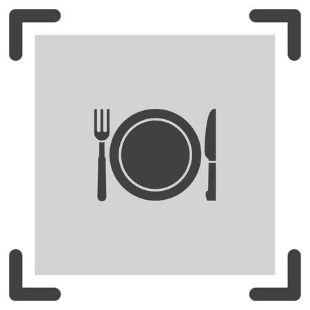 hotel resort: Fork and knife menu vector icon. Hotel resort sign. Motel and hostel symbol