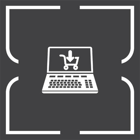e commerce icon: On line shopping vector icon. E commerce sign. Web purchase symbol