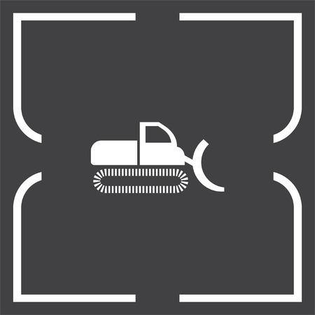 construction vehicle: Dredge symbol vector icon. Bagger sign. Construction vehicle symbol
