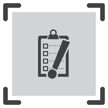 note of exclamation: Check list with exclamation mark vector icon. Clip board with exclamation mark symbol. Illustration