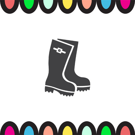 rain boots: Rain boots vector icon. Rubber footwear sign. Gumboots symbol