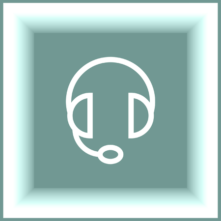 headset symbol: Headphones or headset line vector icon. Music sign. Volume control pictograph. Sound symbol.