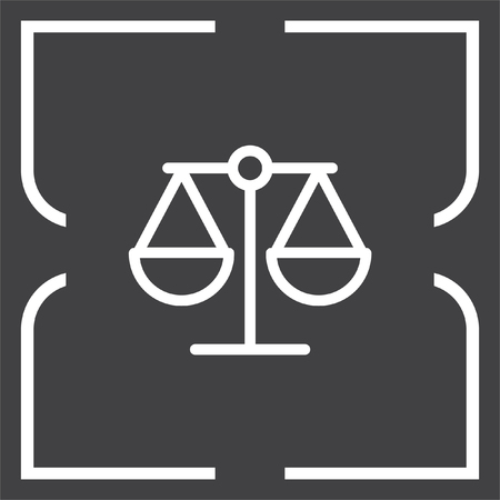 equilibrium: Scales line vector icon. Justice symbol sign. Balance pictograph. Illustration