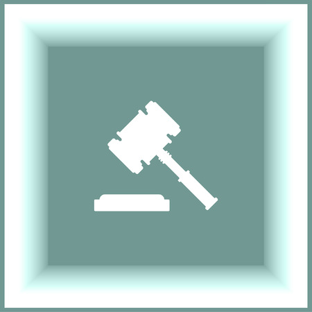 verdicts: Judge hammer vector icon. Justice sign. Law symbol